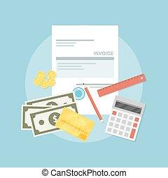 invoice - picture of invoice sheet, pen, calculator, ruler, ...