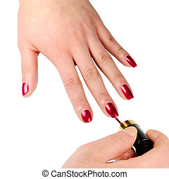 Picture of isoalted hand and nail enamel with white background.