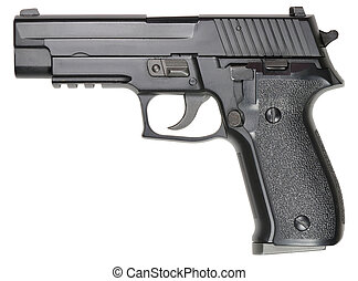 Picture of isolated pistol with white background.