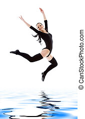 jumping girl in black leotard - picture of jumping girl in...