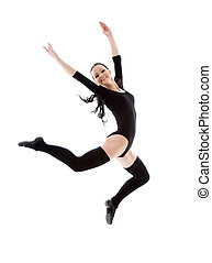 jumping girl in black leotard - picture of jumping girl in ...