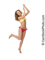 picture of jumping woman in bikini