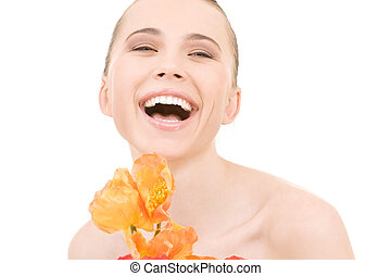 laughing woman with flowers