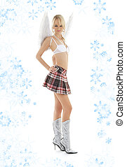lingerie angel blond in checkered skirt with snowflakes