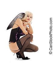 lingerie angel girl in stockings on high heels