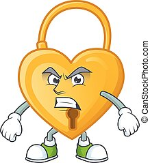 Picture of love padlock cartoon character with angry face