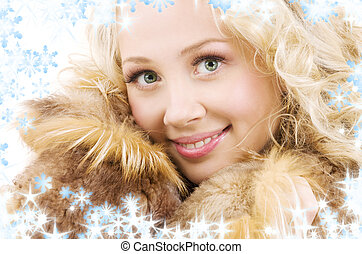 picture of lovely blonde in fur with snowflakes