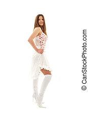 lovely brunette in high boots