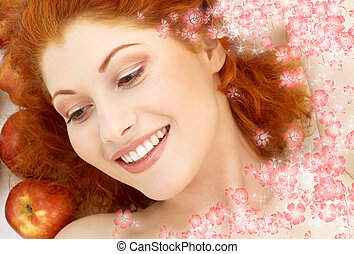 lovely redhead with red apples and flowers - picture of...