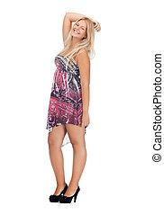 lovely teenage girl in elegant dress