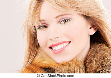 lovely teenage girl in fur