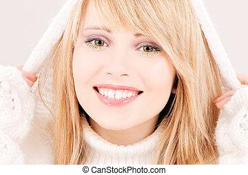lovely teenage girl in hoodie