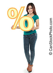Picture of lovely woman holding percent sign
