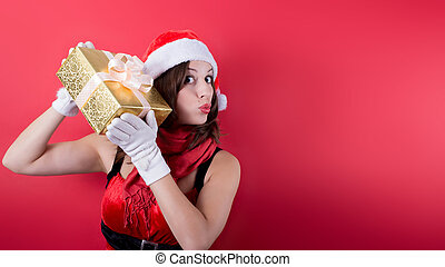 picture of lovely woman in red dress with present