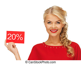 lovely woman in red dress with discount card - picture of ...