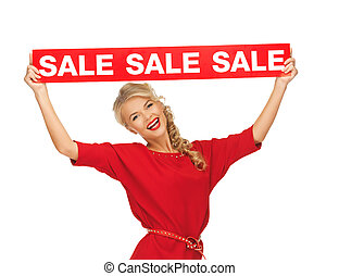 lovely woman in red dress with sale sign