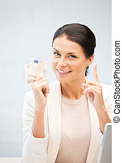 lovely woman with euro cash money - picture of lovely woman...