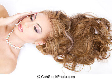 healthy hair - picture of lovely woman with long healthy ...