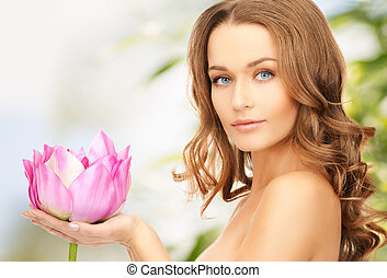 lovely woman with lotos flower - picture of lovely woman ...