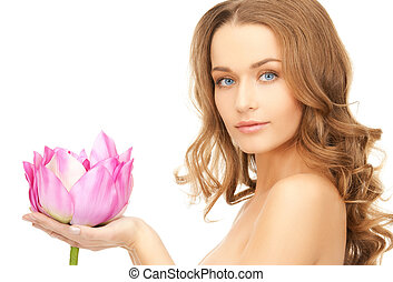 lovely woman with lotus flower - picture of lovely woman ...