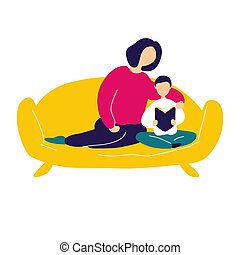 Picture of mom and baby on a white background. Vector illustration.