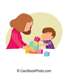 picture of mom and baby playing on a white background. Vector illustration.