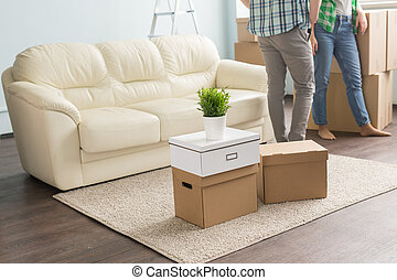 moving boxes on carpet infront of young couple and sofa