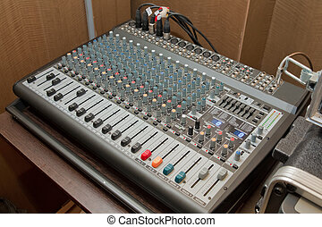Picture of Musical amplifier Sound amplifier or Music mixer with Knobs, Jack holes and Mic connectors