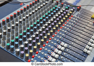 Picture of Musical amplifier Sound amplifier or Music mixer with Knobs, Jack holes and Mic connectors . The part of Musical amplifier Sound amplifier or Music mixer with Knobs and Jack holes .