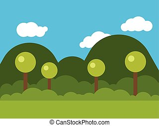 picture of nature with trees and mounds