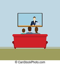 Picture of news on TV. Vector illustration.