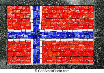 Norwegian flag made of little mosaic tiles