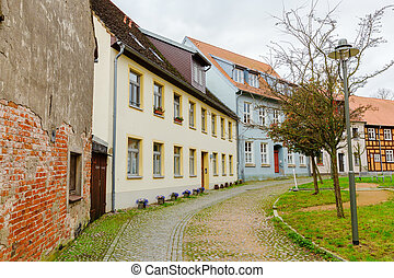 old town houses in the historical town of Wolgast, Germany