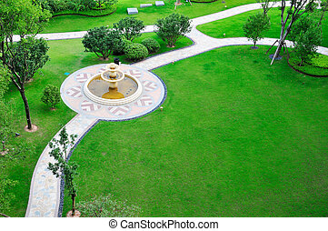 Picture of overlook panoramic of lawn with fountain.