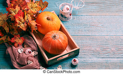 Picture of pumpkin, maple leaves