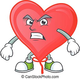 Picture of red love balloon cartoon character with angry face
