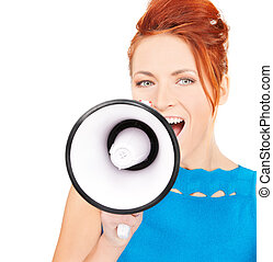 woman with megaphone - picture of redhead woman with...