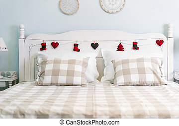 Picture of romantic nice decorated bed in bedroom