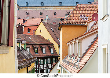 roofs in the medieval old town of Bamberg, Germany