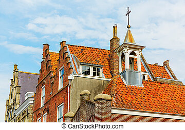 roofs of historic houses in the medieval town of Veere, Netherlands