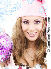 santa helper girl with ball