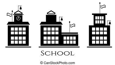 Picture of school buildings, text school