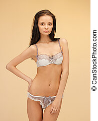 seductive woman in sexy lingerie