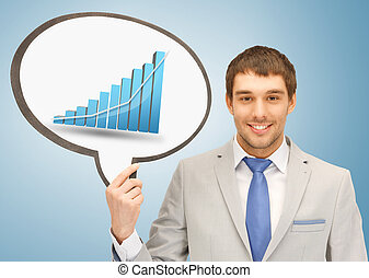 businessman holding text bubble with graph