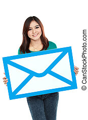 Picture of smiling woman holding envelope sign