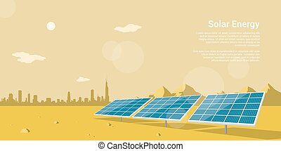 solar energy - picture of solar batteries in a desert with ...
