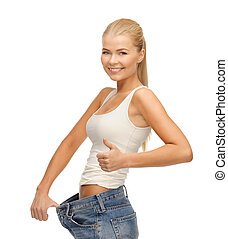 sporty woman showing big pants - picture of sporty woman ...