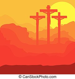 picture of sunset crucifix design