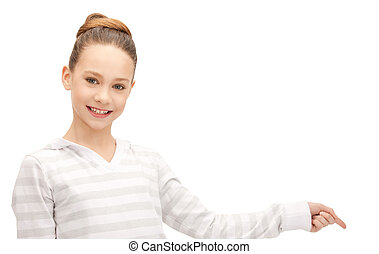 teenage girl pointing her finger