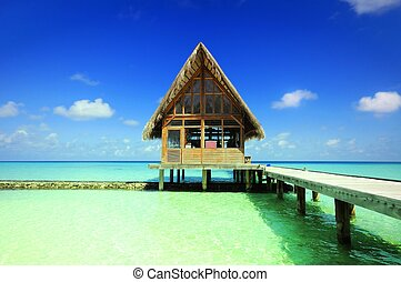 Picture of thatcded house at beach of maldives.